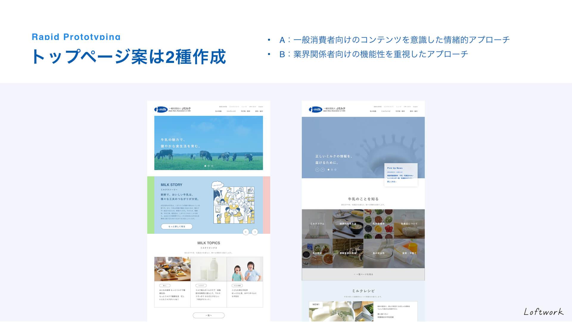 2種類のトップページの提案