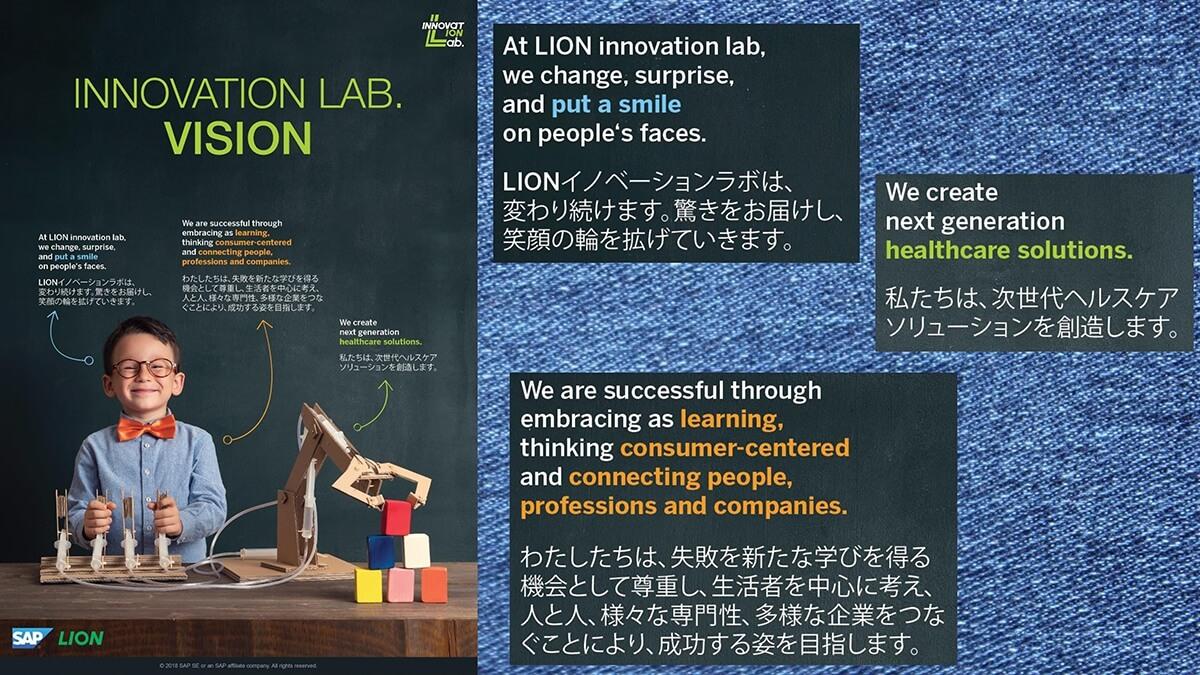 ラボのゴールと指針を明確にするためにそのビジョンを明文化した「INNOVATION LAB. VISION」を社内外に提示しています。