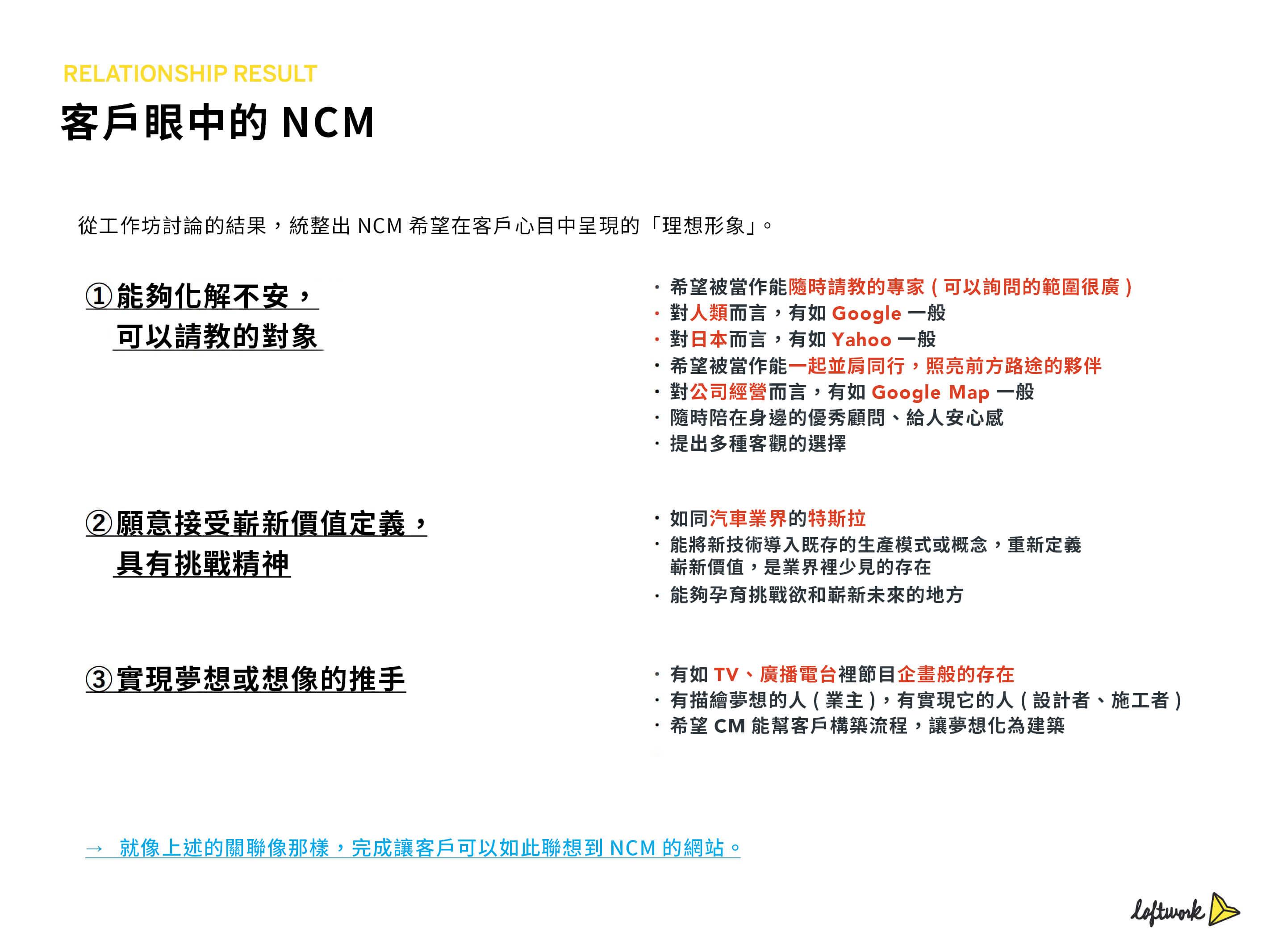 透過舉辦公司內部的工作坊,將「對客戶而言NCM的價值」、「客戶心目中理想的NCM」內容文字化。